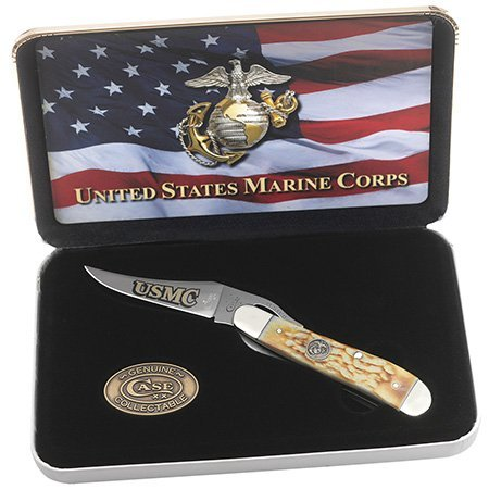Case U. S. Marine Corps 13182 Burnt Cream Bone Handle Jigged Russ (Jigged Bone Finish Handle)