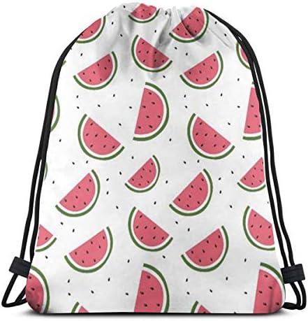 スイカ夏の果物防水巾着バッグジムバッグスポーツバックパック男性女性女の子36 x 43 cm