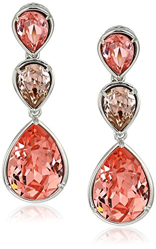 Platinum-plated Swarovski Crystal Rose Peach Pear-bezel Stud Earrings