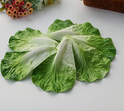 100PCS Uv Artificial Vegetable Leaf Faux Plant Foliage Fake Lettuce Leaf House Kitchen Hotel Decor (100) by artificial vegetable leaf