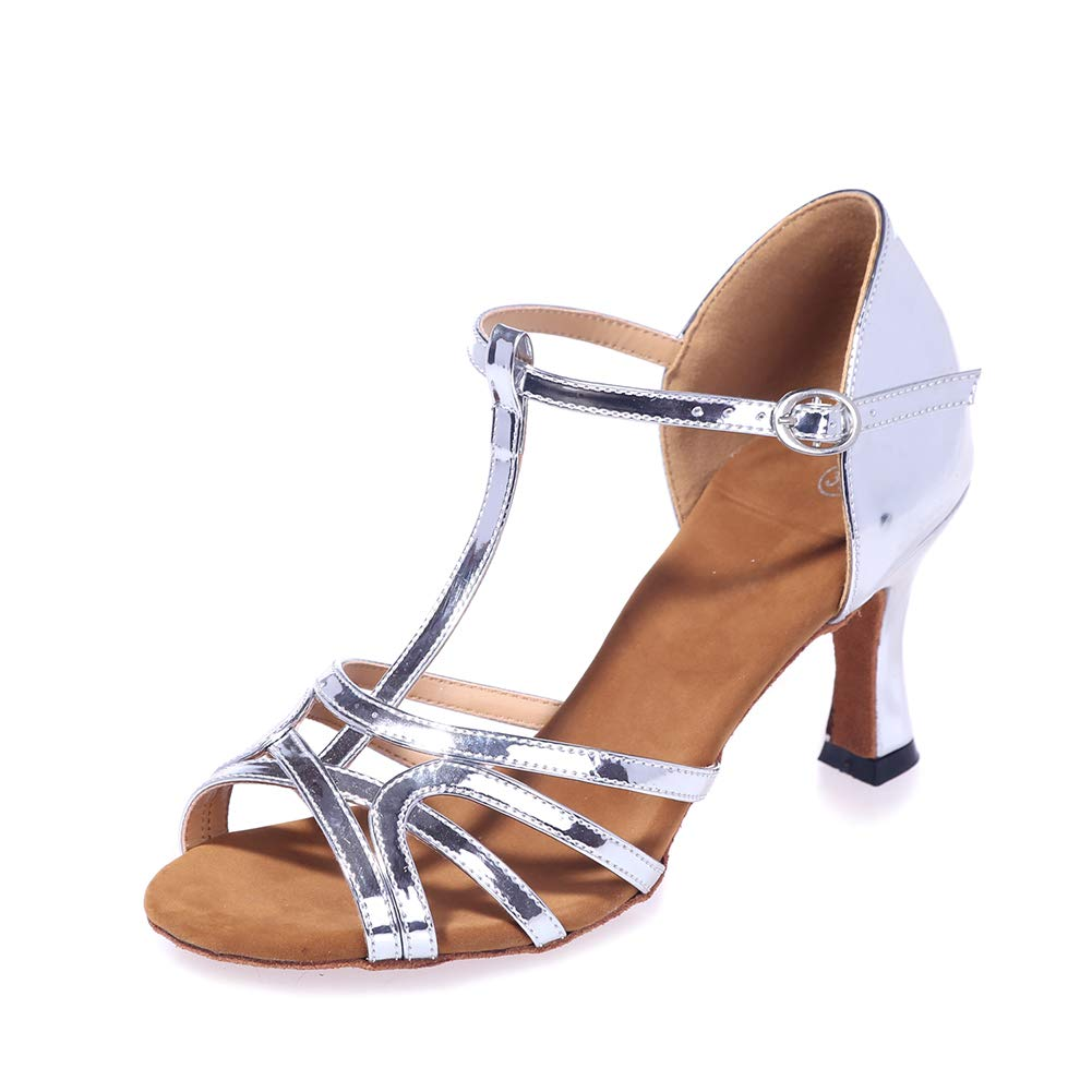 Cuir PU Latine Jazz Tango Poisson Bouche Mi Milieu Haute Talon Femmes Talons Chaussures De Danse Salle De Bal argent(heel 7.5cm) 39EU