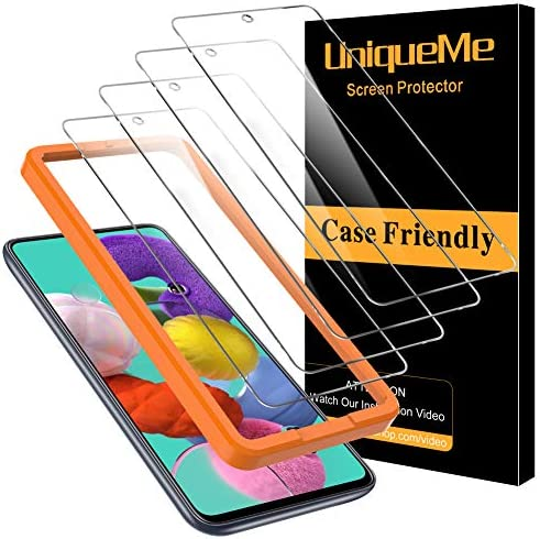 [4 Pack] UniqueMe Screen Protector for Samsung Galaxy A51 Tempered Glass, [Case Friendly]9H Hardness [Alignment Frame Easy Installation] High Definition Bubble Free