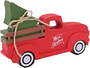 DEI 13856 Rustic Christmas Tree Truck Block Sign, 8-inch Length, Wood
