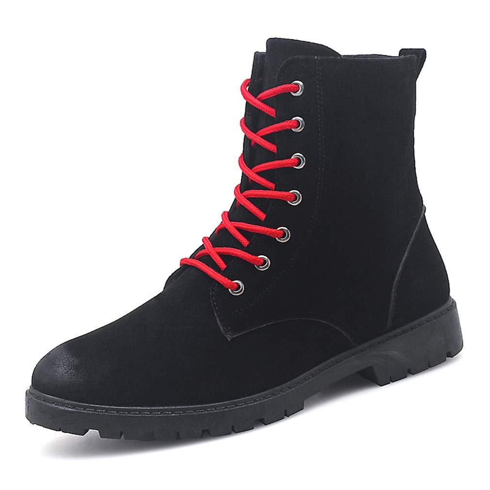 YAN Herren Lederstiefel Herbst & Winter Martin Stiefel British Outdoor Wasserdicht Desert Stiefel Retro Tooling Schuhe Schwarz Grau (Farbe : Schwarz, Größe : 40)