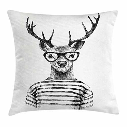 (Lunarable Deer Throw Pillow Cushion Cover, Dressed up Reindeer Headed Human Hipster Style with Glasses Stripped Shirt, Decorative Square Accent Pillow Case, 26 X 26 Inches, Charcoal Grey White)
