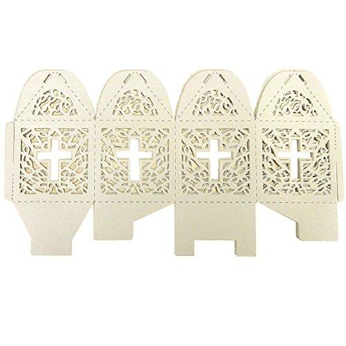2 Favor Boxes Piece - Cross Laser Cut Favor Boxes, 2-Inch, 12-Piece (Ivory)