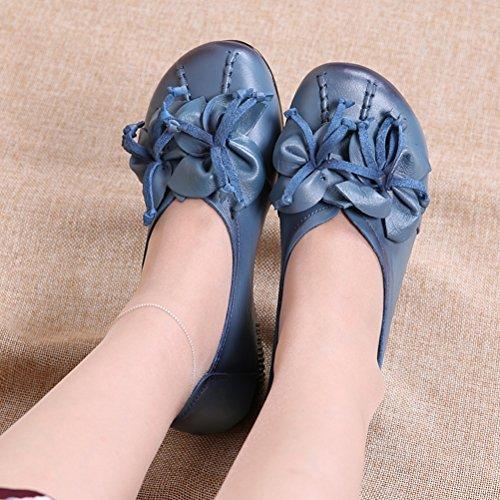 Vintage Style4 Floral Chaussures Femme bleu Clair Escarpins Plate Cuir MatchLife 5CTqwB0