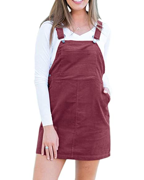 b840f39cec5 Mafulus Womens Dress Corduroy Sleeveless Suspender Casual Bib Overall  Pinafore Dresses with Pockets