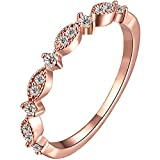LWLH Womens 18k Rose Gold Plated Cubic Zirconia Eternity Ring Band Deal