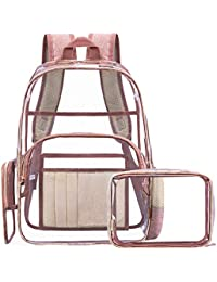Clear Backpack with Cosmetic Bag & Case, Clear Transparent PVC Multi-pockets School Backpack Outdoor Bookbag Travel Makeup Quart Luggage Pouch Organizer Fit 15.6 Inch Laptop (Rose Gold)