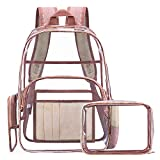 NiceEbag Clear Backpack with Cosmetic Bag & Case, Clear Transparent PVC Multi-pockets School Backpack Outdoor Bookbag Travel Makeup Quart Luggage Pouch Organizer Fit 15.6 Inch Laptop (Rose Gold)