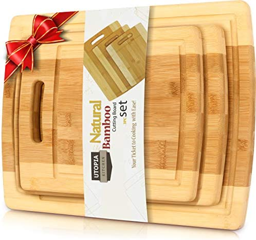 Amazon Com Utopia Kitchen 3 Piece Natural Organic Bamboo Cutting Boards With Juice Grooves Bpa Free Eco Friendly Bamboo Chopping Boards For Vegetables Meat And Cheese Kitchen Dining