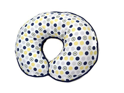 Nursing Pillow Cover Navy Yellow Grey Polka Dots by Mommy's Little RockStar