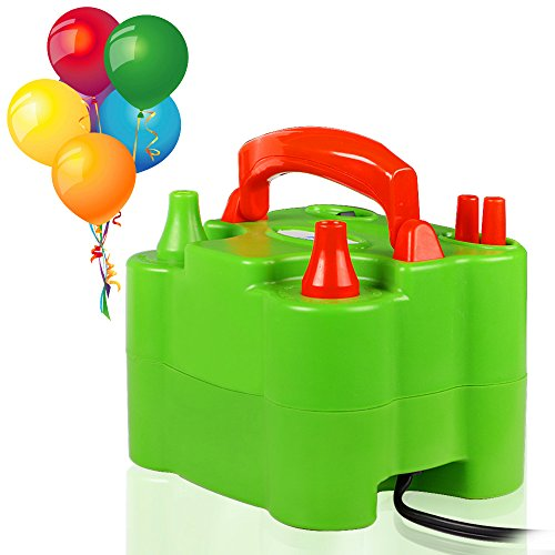 ASSEM Dual Nozzle Green 110V-120V 600W Portable Electric Balloon Pump Inflator Balloon Air Pump Inflator Balloon Blower for Party Balloons and Decoration Balloons -
