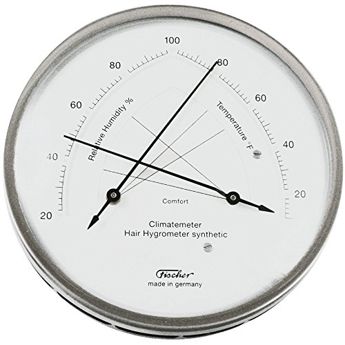 Hair Hygrometer (Ambient Weather Fischer Instruments 146-01 Stainless Steel Traditional Temperature and Humidity Comfortmeter with Synthetic Hair Hygrometer)