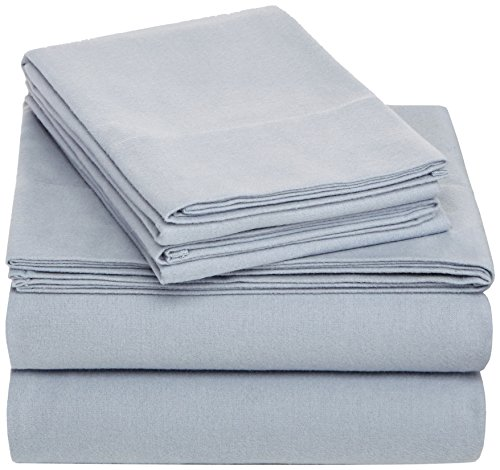 Pinzon Cotton Flannel Bed Sheet Set - Queen, Dusty Blue