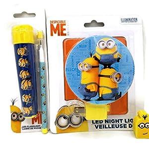 Despicable ME/Minions LED Night Light & Flashlight Bundle Plus Bonus Minions Pencil & Eraser