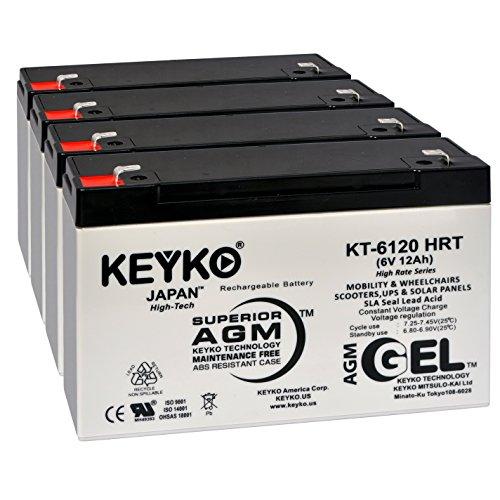 Sure-Lites XR11 6V 12Ah Battery - Fresh & REAL 14.0 Amp - GEL Deep Cycle AGM/SLA Seal Lead Acid Designed for Lighting - Genuine KEYKO KT-6120 HRT- F1 Terminal - (12 Amp Hour Sealed Lead)