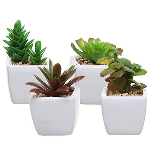 Set of 4 Small Green Plastic Artificial Succulent Plants in Mini Modern White Ceramic Planter Pots