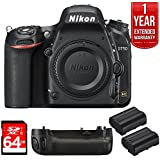 Nikon D750 DSLR 24.3MP HD 1080p FX-Format Digital Camera 64GB Bundle, Includes 64GB SD Memory Card, Multi Battery Power Pack for D750, 2x EN-EL15 Rechargeable Li-Ion Battery f/Select DSLR Cameras