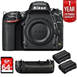 Nikon D750 DSLR 24.3MP HD 1080p FX-Format Digital Camera 64GB Bundle, Includes 64GB SD Memory Card, Multi Battery Power Pack for D750, 2x EN-EL15 Rechargeable Li-Ion Battery f/Select DSLR Cameras