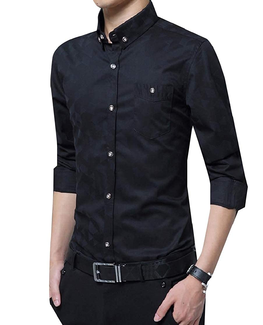 YUNY Men Pocket Front Fleece Thicken Floral Printed Shirt Blouse Tops Black 2XL