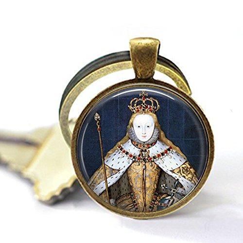 yijun Queen Elizabeth I in her Coronation Robes - British Monarch - Queen Elizabeth Pendant - Big Ben - Great Britain Memento - UK Jewellery Keychain