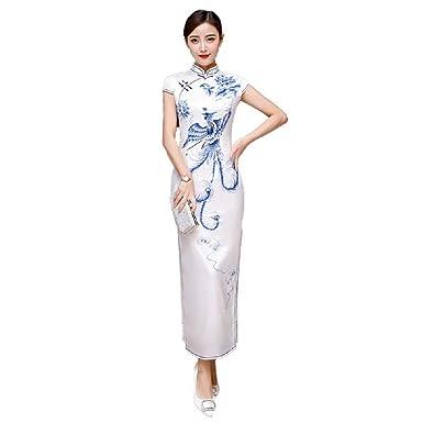 dcb71f96d133b Lazutom Women Lady Long Cheongsam Dress Chinese Style Dress Party Dress:  Amazon.co.uk: Clothing