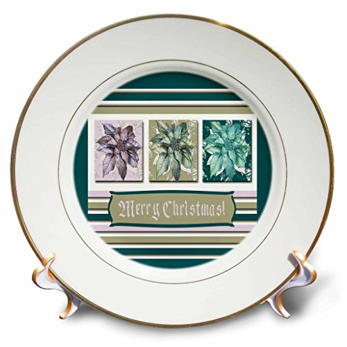3dRose Beverly Turner Christmas Design - Poinsettias in Green, Lavender, and Lime, Frame, Merry Christmas - 8 inch Porcelain Plate (Lavender Clock Plate)