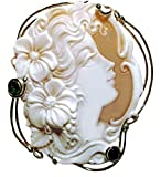 Cameo Pin Pendant Master Carved, Summer Dream, Italian Sardonyx Shell Sterling Silver