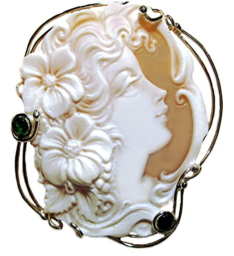 Cameo Pin Pendant Master Carved, Summer Dream, Italian Sardonyx Shell Sterling - Oval Brooch Emerald