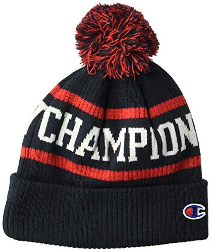 Champions Knit Hat - Champion Men's Winter Beanie, Navy/red/White, OS