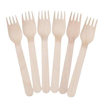 100 Piezas tenedor de madera desechable conjunto para fiestas camping picnics bodas barbacoa de fideos de fruta postres comida tenedor 16cm/6.29 pulgadas de ...