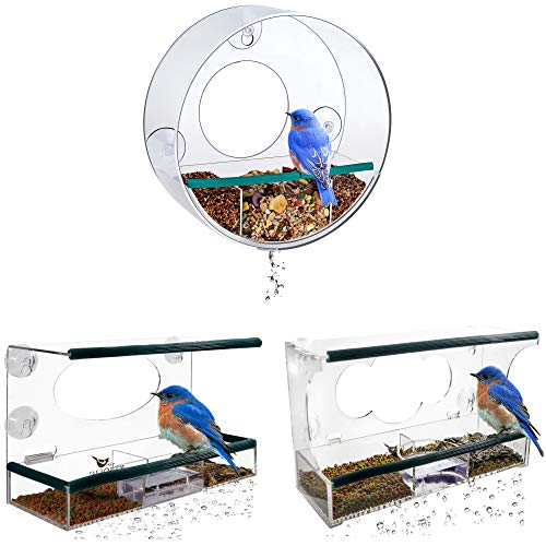 Bundle - 3 Items: Wild, Deluxe and Tube Window Bird Feeders for Outside - Enjoy Unique Watching Small and Large Birds. Squirrel Proof with Strong Suction Cups, Removable Seed Tray. Best Gift Idea