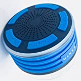 DEKKA Blue Portable Wireless Outdoor Bluetooth Speaker IPX7 Waterproof Shower FM Radio, HD Audio and Super Bass, BlueLED Lights, Built-in Mic for Home, Party, Pool & Beach (Blue)