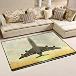 "DEYYA Non-Slip 20"" x 31"" Area Rug Pad for Hardwood Floors, Takeoff Plane in Airport at Sunset Door Mat for Bedroom Bathroom Decorative Lightweight Printed Rugs Carpet"