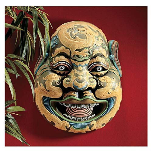 K&N35 Indoor Sculpture Décor Tang Dynasty Imperial General Chinese Culture Sculpted Mask Wall Figurine Statue Art Deco Home Decor ()