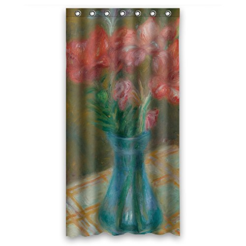 ZEEZON The William James Glackens - Gladiolas In Green Glass Vase Bath Curtains Of Polyester Width X Height / 36 X 72 Inches / W H 90 By 180 Cm Decoration Gift For Father Him Kids Girl B