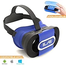 VR Headset by ILAI | Best Glasses For Mobile Phone | Unmatched Virtual Reality Immersion W/ 3D Movies & Games | Compatible W/ Any 4.0-6.0 Inch Smartphones | iPhone 5/6/6s/7/8 Plus, Samsung S6/S7/S8