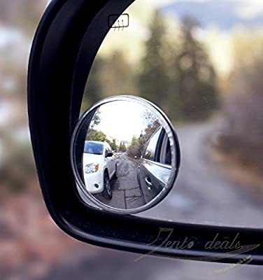 Zento Deals Pack of Two 2 Inch Stick-on Rearview Blind Spot Mirrors Aluminum Border Thin Car Mirrors