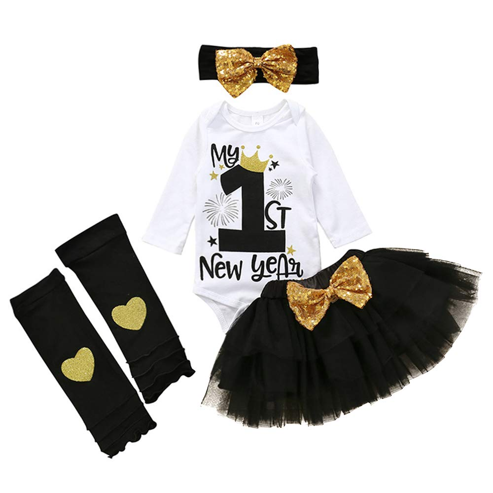 My 1st New Year Outfits Newborn Baby Girl Clothes Romper Tops+Tutu Tulle Polka Skirt+Leg Warmth Dress Headband 4PCS Set