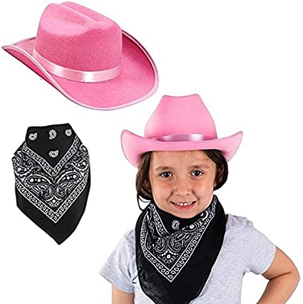 59925c902 Funny Party Hats Cowgirl Hat for Girls - 2 Pc Set - Pink Cowboy Hat with  Bandanna - Western Costume Accessories