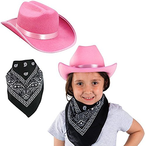 2 Western Piece Clothes (Funny Party Hats Cowgirl Hat - Girls Pink Cowgirl Costume - 2 Piece Set - Pink Cowboy Hat with Black Bandanna - Western Costume Accessories - Kids Dress Up)