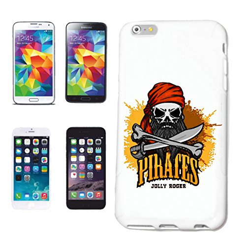 "cas de téléphone iPhone 6+ Plus ""CAPITAINE PIRATE PIRATE PIRATE PIRATE CORSAIR SKULL SKELETON"" Hard Case Cover Téléphone Covers Smart Cover pour Apple iPhone en blanc"