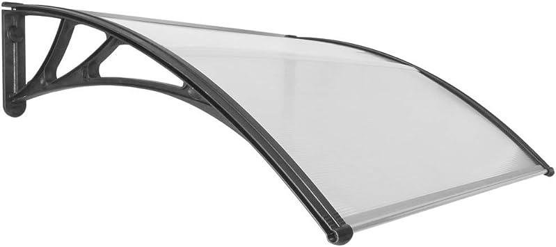 PrimeMatik Tejadillo de protecci/ón 120 x 100 cm cl/ásico Marquesina para Puertas y Ventanas con Soporte de Acero Negro