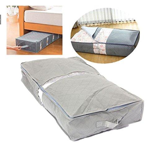 75,6× 39× 12.6cm under-bed Organizador debajo de la cama Bolsa de almacenamiento Caja gris para la ropa Mantas es por...