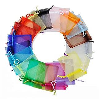 Eyelash Bags 4x6 inches, Colorful Organza Bag 100pcs, 10 Different Colors Sheer Drawstring Jewelry Pouches Wedding Party Favor Gift Bags