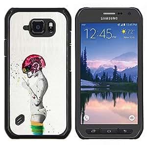 LECELL--Funda protectora / Cubierta / Piel For Samsung Galaxy S6Active Active G890A -- Abstract Pink fumadores Grey Man Profundo --