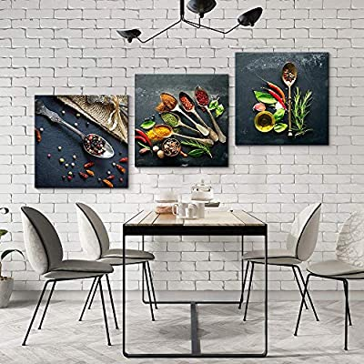 Beautiful Print, 3 Panel Delicious Food Pictures Home Wall for Bedroom Living Room Paintings Framed x3 Panels, Classic Artwork