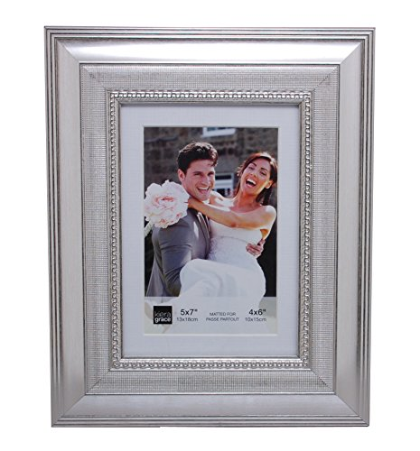 Kiera Grace Norah Picture Frame, 5 by 7-Inch Matted for 4 by 6-Inch Photo, Antique Silver by Kiera Grace